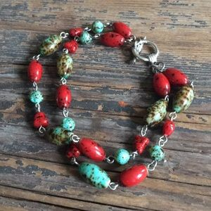 Jewelry - Red and Turquoise Speckled Bead Silver Bracelet